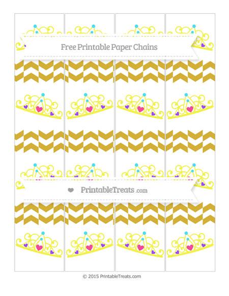 Free Metallic Gold Herringbone Pattern Princess Tiara Paper Chains