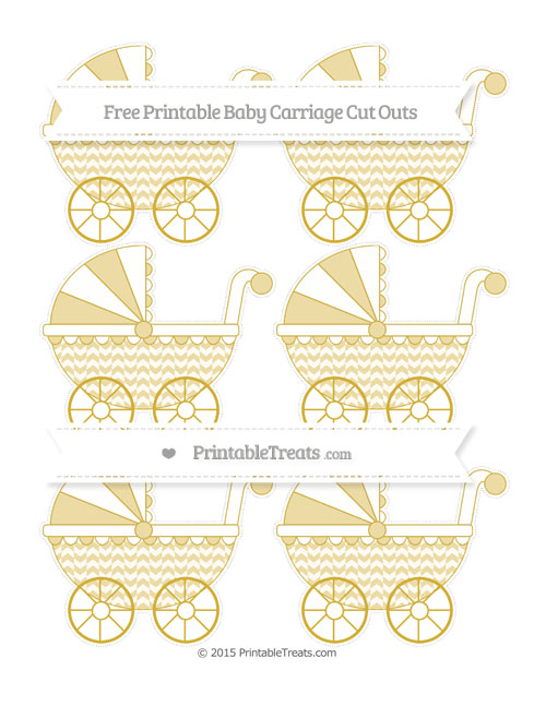 Free Metallic Gold Herringbone Pattern Small Baby Carriage Cut Outs