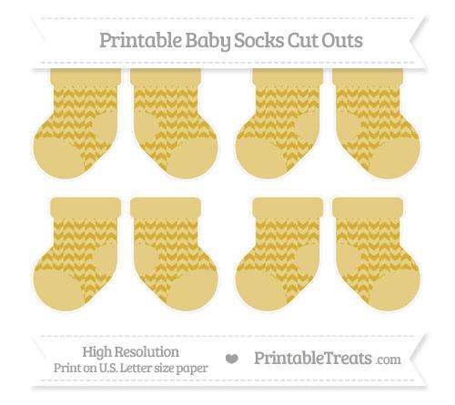 Free Metallic Gold Herringbone Pattern Small Baby Socks Cut Outs