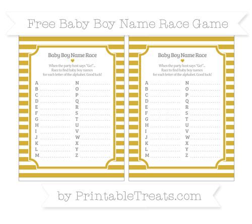 Free Metallic Gold Horizontal Striped Baby Boy Name Race Game