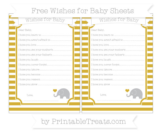 Free Metallic Gold Horizontal Striped Baby Elephant Wishes for Baby Sheets