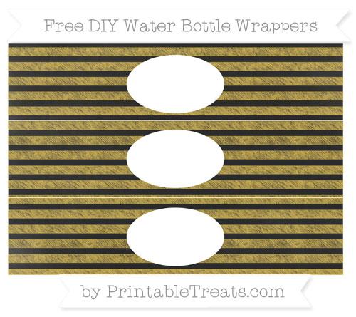 Free Metallic Gold Horizontal Striped Chalk Style DIY Water Bottle Wrappers