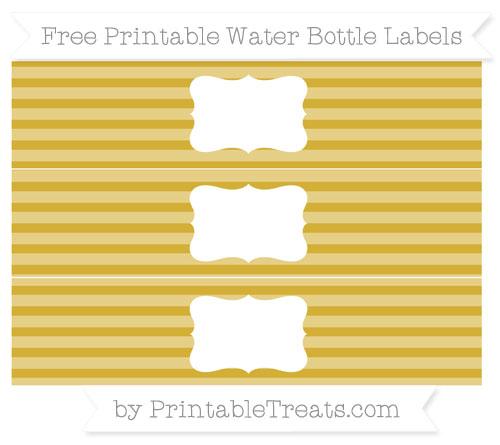 Free Metallic Gold Horizontal Striped Water Bottle Labels