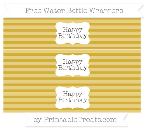 Free Metallic Gold Horizontal Striped Happy Birhtday Water Bottle Wrappers