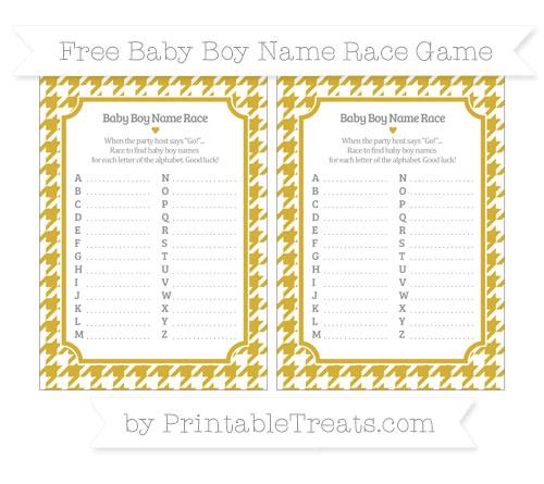 Free Metallic Gold Houndstooth Pattern Baby Boy Name Race Game