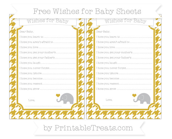 Free Metallic Gold Houndstooth Pattern Baby Elephant Wishes for Baby Sheets