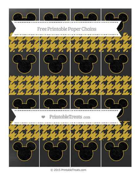 Free Metallic Gold Houndstooth Pattern Chalk Style Mickey Mouse Paper Chains