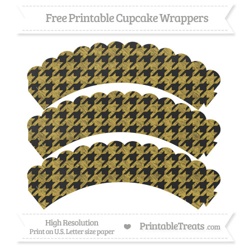 Free Metallic Gold Houndstooth Pattern Chalk Style Scalloped Cupcake Wrappers