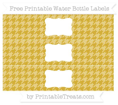 Free Metallic Gold Houndstooth Pattern Water Bottle Labels