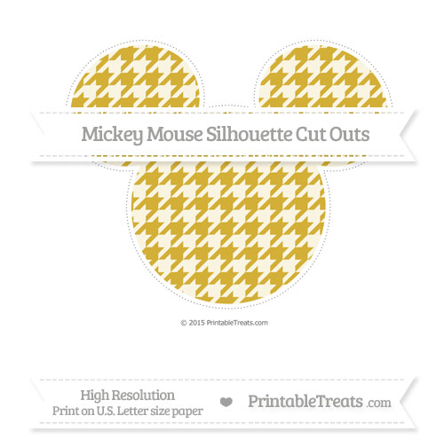 Free Metallic Gold Houndstooth Pattern Extra Large Mickey Mouse Silhouette Cut Outs