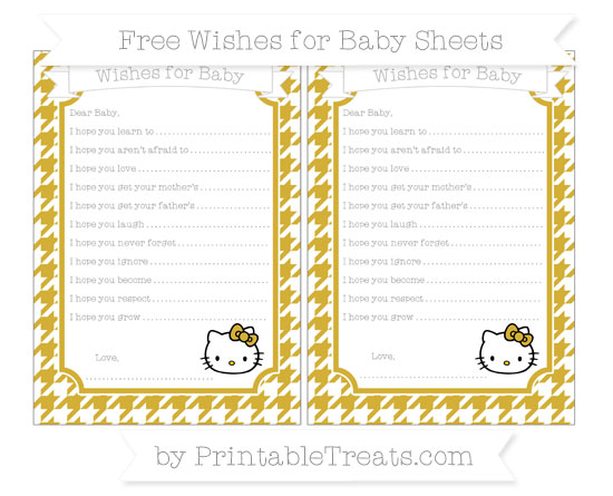 Free Metallic Gold Houndstooth Pattern Hello Kitty Wishes for Baby Sheets