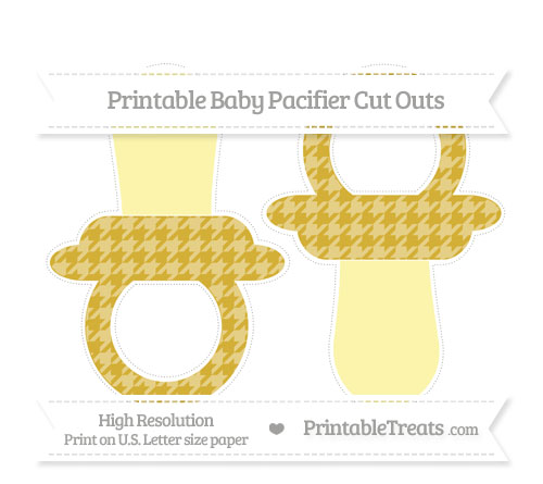 Free Metallic Gold Houndstooth Pattern Large Baby Pacifier Cut Outs