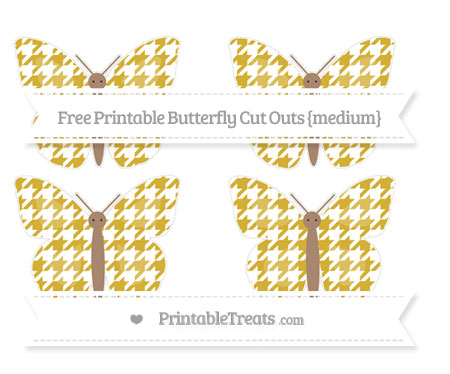 Free Metallic Gold Houndstooth Pattern Medium Butterfly Cut Outs