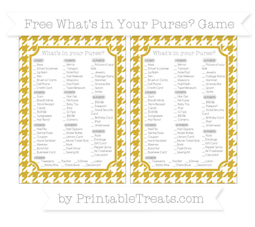 Free Metallic Gold Houndstooth Pattern What's in Your Purse Baby Shower Game