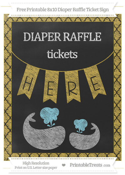 Free Metallic Gold Moroccan Tile Chalk Style Baby Whale 8x10 Diaper Raffle Ticket Sign
