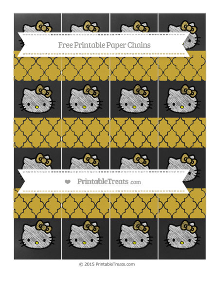 Free Metallic Gold Moroccan Tile Chalk Style Hello Kitty Paper Chains