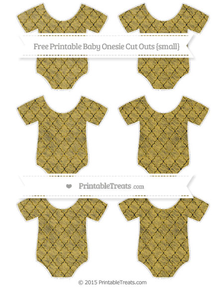 Free Metallic Gold Moroccan Tile Chalk Style Small Baby Onesie Cut Outs