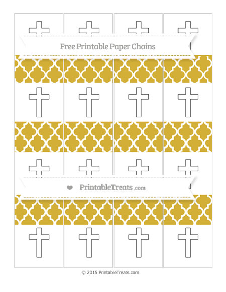 Free Metallic Gold Moroccan Tile Cross Paper Chains