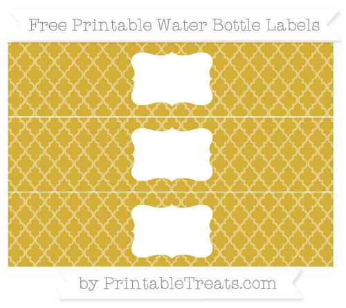 Free Metallic Gold Moroccan Tile Water Bottle Labels