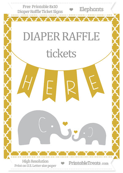 Free Metallic Gold Moroccan Tile Elephant 8x10 Diaper Raffle Ticket Sign