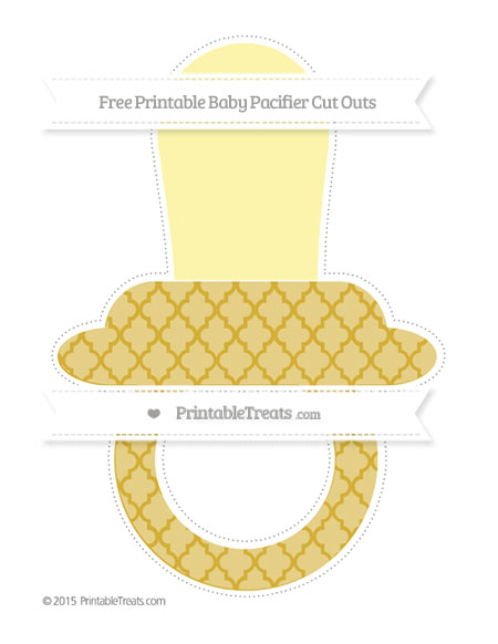 Free Metallic Gold Moroccan Tile Extra Large Baby Pacifier Cut Outs