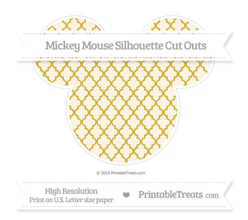 Free Metallic Gold Moroccan Tile Extra Large Mickey Mouse Silhouette Cut Outs