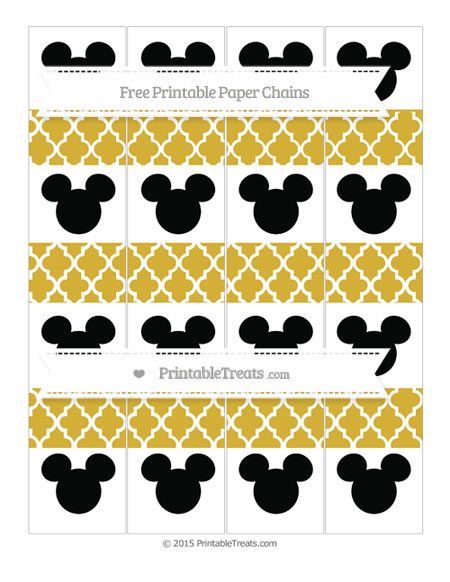 Free Metallic Gold Moroccan Tile Mickey Mouse Paper Chains