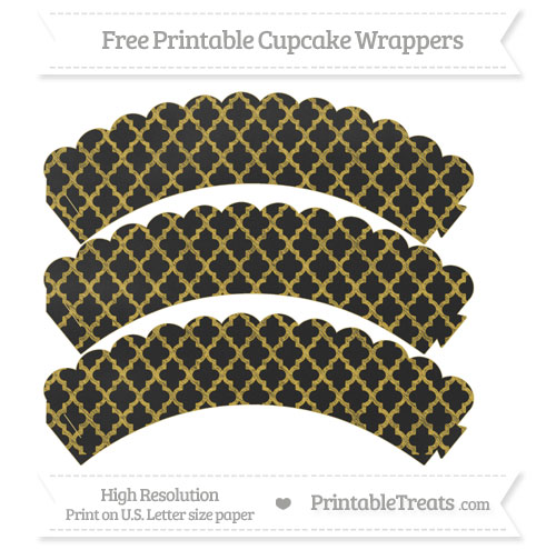 Free Metallic Gold Moroccan Tile Pattern Chalk Style Scalloped Cupcake Wrappers