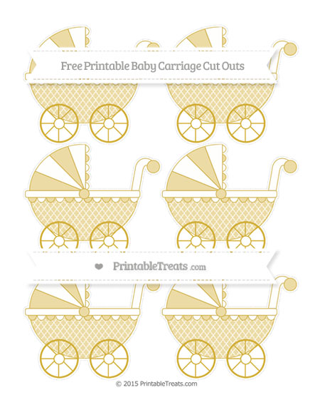 Free Metallic Gold Moroccan Tile Small Baby Carriage Cut Outs