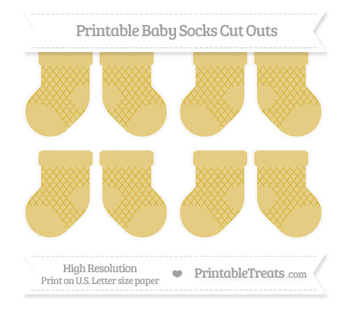 Free Metallic Gold Moroccan Tile Small Baby Socks Cut Outs