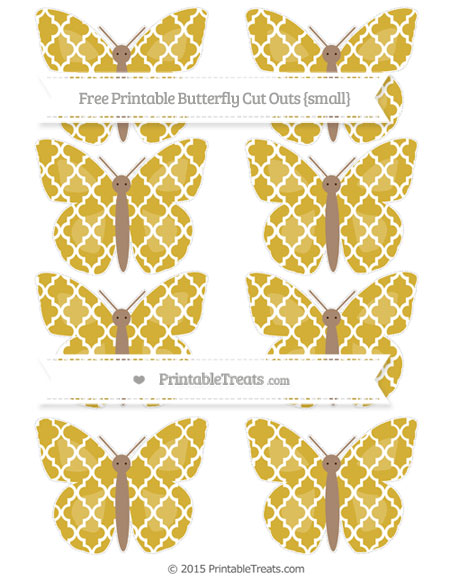 Free Metallic Gold Moroccan Tile Small Butterfly Cut Outs