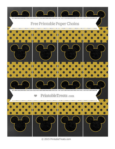 Free Metallic Gold Polka Dot Chalk Style Mickey Mouse Paper Chains