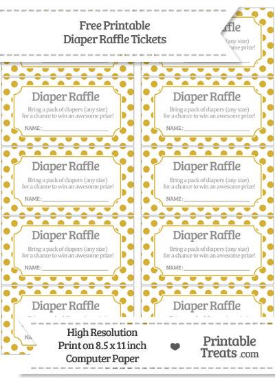 Free Metallic Gold Polka Dot Diaper Raffle Tickets