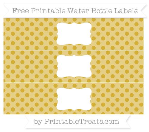 Free Metallic Gold Polka Dot Water Bottle Labels
