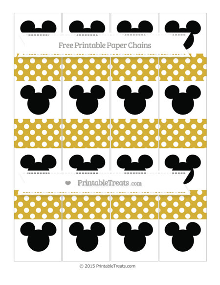 Free Metallic Gold Polka Dot Mickey Mouse Paper Chains
