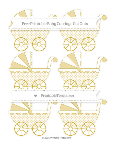 Free Metallic Gold Polka Dot Small Baby Carriage Cut Outs