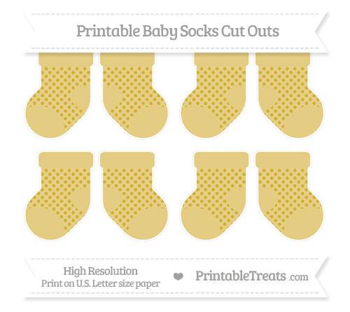 Free Metallic Gold Polka Dot Small Baby Socks Cut Outs
