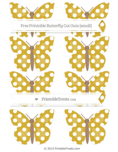 Free Metallic Gold Polka Dot Small Butterfly Cut Outs