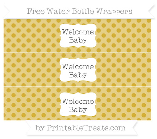 Free Metallic Gold Polka Dot Welcome Baby Water Bottle Wrappers