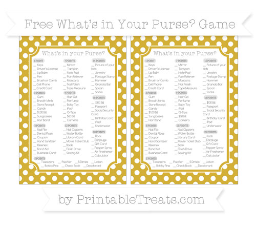 Free Metallic Gold Polka Dot What's in Your Purse Baby Shower Game