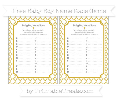 Free Metallic Gold Quatrefoil Pattern Baby Boy Name Race Game