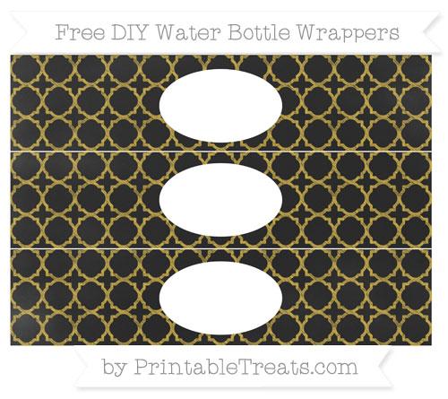Free Metallic Gold Quatrefoil Pattern Chalk Style DIY Water Bottle Wrappers