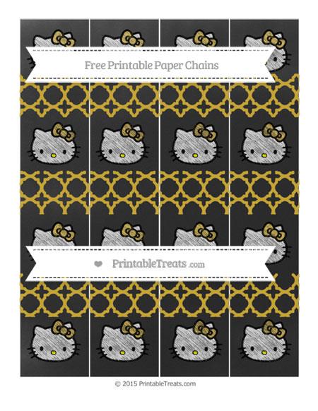 Free Metallic Gold Quatrefoil Pattern Chalk Style Hello Kitty Paper Chains