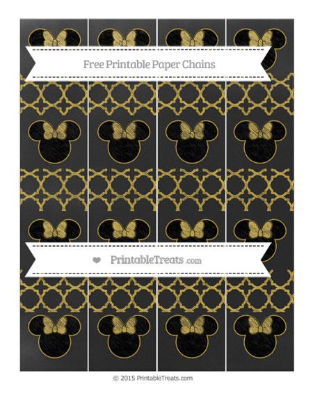 Free Metallic Gold Quatrefoil Pattern Chalk Style Minnie Mouse Paper Chains