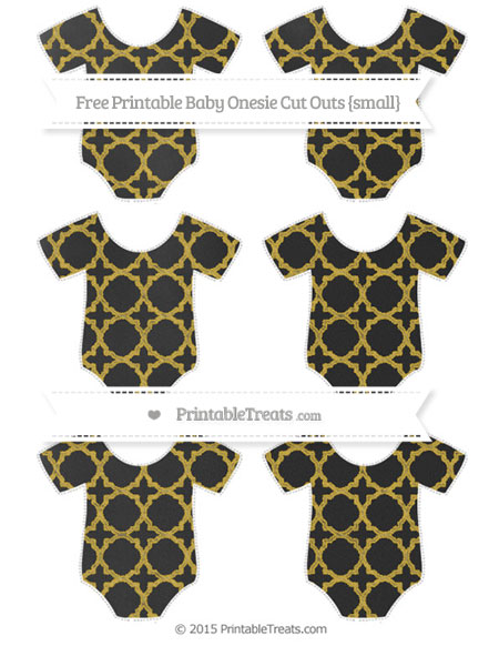 Free Metallic Gold Quatrefoil Pattern Chalk Style Small Baby Onesie Cut Outs