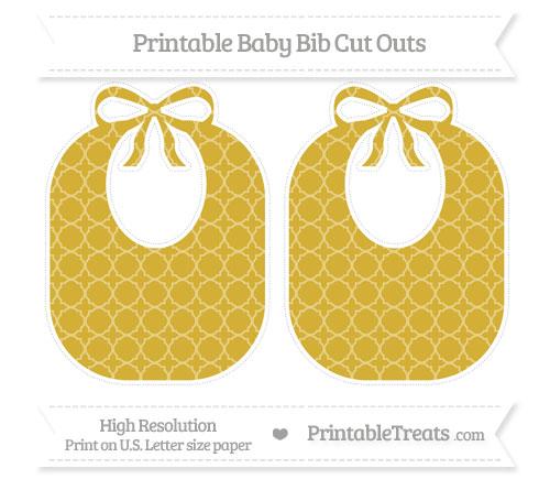 Free Metallic Gold Quatrefoil Pattern Large Baby Bib Cut Outs