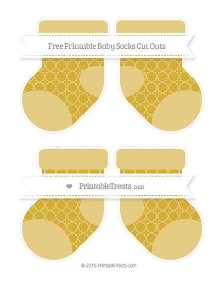 Free Metallic Gold Quatrefoil Pattern Medium Baby Socks Cut Outs