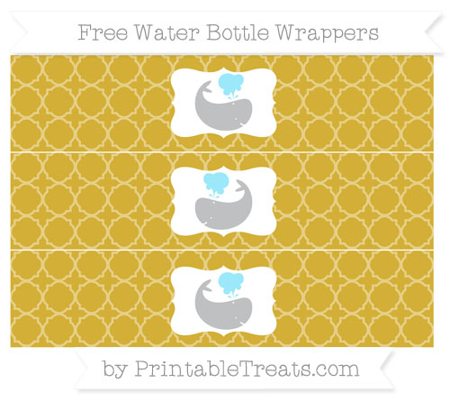Free Metallic Gold Quatrefoil Pattern Whale Water Bottle Wrappers