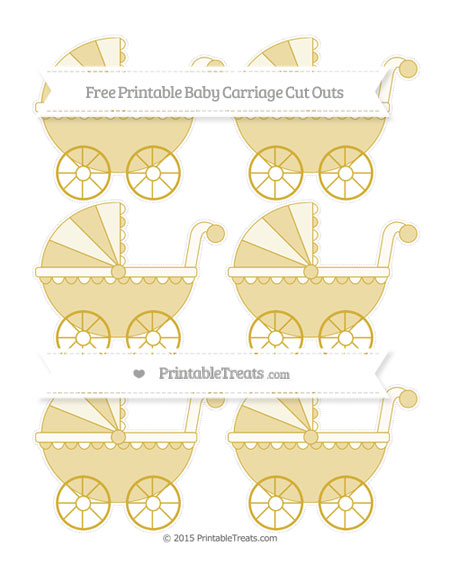 Free Metallic Gold Small Baby Carriage Cut Outs