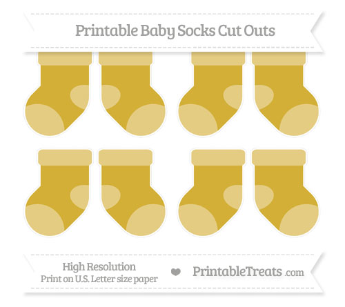 Free Metallic Gold Small Baby Socks Cut Outs